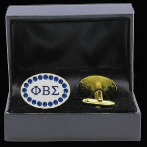 PBS 7/8″W Sapphire Austrian Crystal Silver Cufflinks In Leatherette Box