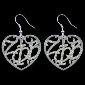 ZPB Clear Crystal Filigree Heart Earrings