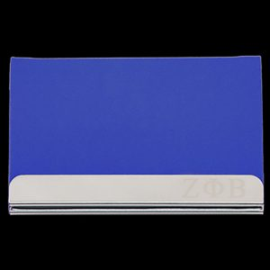 ZPB Laser Engraved Business Card Holder – Stainless Steel With Blue Leather