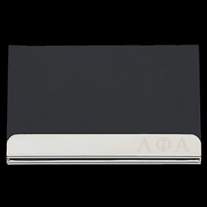 APA Laser Engraved Business Card Holder – Stainless Steel With Black Leather