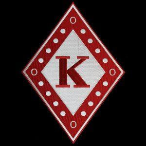 KAP 10 1/2″T Diamond Emblem W/Heat Seal Backing