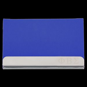 PBS Laser Engraved Business Card Holder – Stainless Steel With Blue Leather