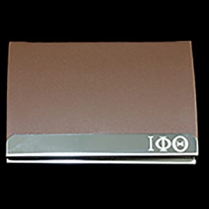 IPT Laser Engraved Business Card Holder – Stainless Steel With Brown Leather