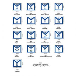 Mason Apron Lodge Office Lapel Pin Set – All 17 Officers