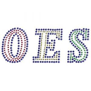 OES Block Letters Studstone Transfer- 2 1/2″T X 7″W