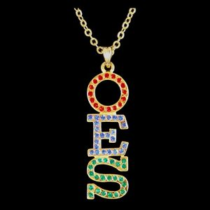OES R/R/G Austrian Crystal Pendant Gold