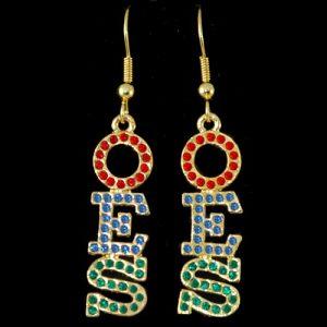 OES R/R/G Austrian Crystal Earrings Gold