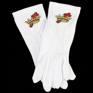 White Gloves W/Cross & Crown Emblems