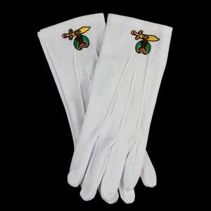 White Gloves W/Shriner Emblems