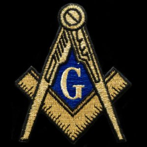 Mason Compass & Square Emblem In Gold – 2 7/8″