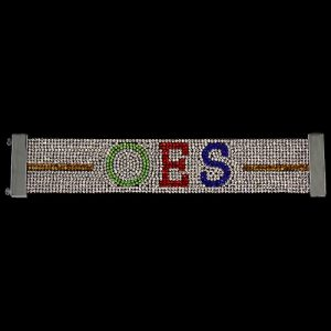 OES Austrian Crystal Bracelet With Magnet Closure – White W/ Multi Color Stones