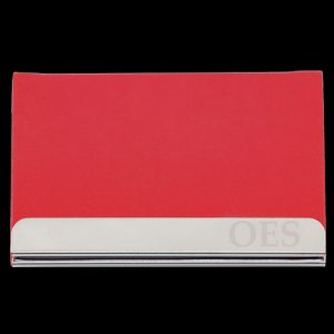OES Laser Engraved Business Card Holder – Stainless Steel With Red Leather