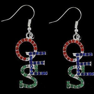 OES Crystal Overlap Letters Earrings