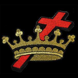 Ladies Cross & Crown/Cyrene 1 1/2″W Emblem W/Heat Seal Backing