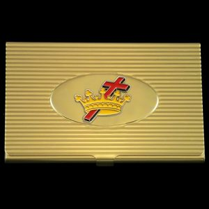 Ladies Cross And Crown/Cyrene Business Card Holder In Gold