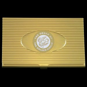 Order Of The Golden Circle Business Card Holder In Gold
