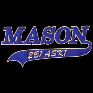 Mason 2 1/2″ T Tail Emblem W/Heat Seal Backing