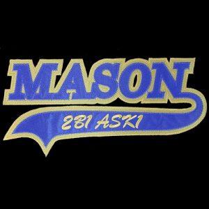Mason 10 1/2″T Tail Emblem W/Heat Seal Backing