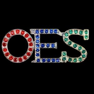 OES Austrian Crystal Red/Royal/Green Pin In Gold