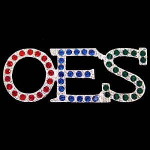 OES Austrian Crystal Red/Royal/Green Pin In Silver