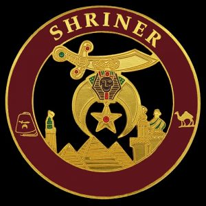 Shriner Cut Out Car Emblem In Maroon