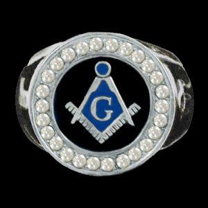 Mason Ring Silver W/Austrian Crystals