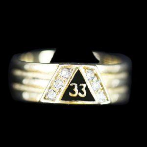 Mason 33rd Degree 2 Tone Ring With Stones