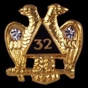 Mason 32nd Degree Wings Down Dbl. Eagle/Stone Lapel Pin