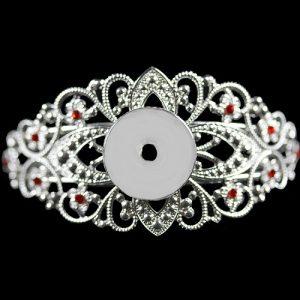 Filigree Bangle Bracelet with Single Receiver – Red Stones