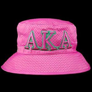 AKA Embroidered Bucket Hat Pink