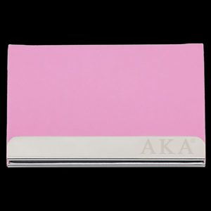 AKA Laser Engraved Business Card Holder – Stainless Steel With Pink Leather