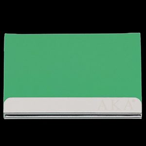 AKA Laser Engraved Business Card Holder – Stainless Steel With Green Leather