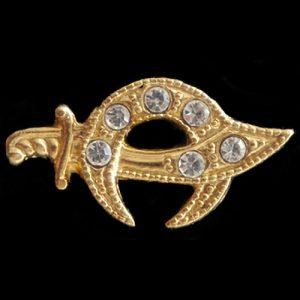 Shriner Stone Lapel Pin In Gold- 1/4″