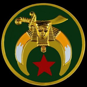 Shriner Green Round Car Emblem