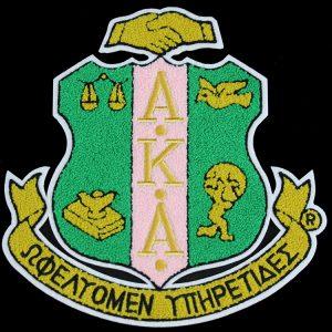 "AKA Chenille Shield 10 1/2"" Emblem w/ Heat Seal Backing"