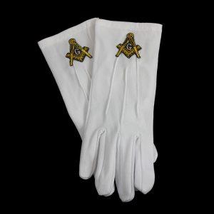 White Gloves W/Gold Mason Emblems