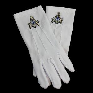 White Gloves W/Silver Mason Emblems