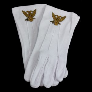 White Gloves W/32nd Wings Up Emblems