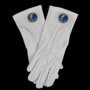 White Gloves W/Two Ball Cane Emblems