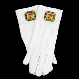 White Gloves W/Knights Templar Emblems