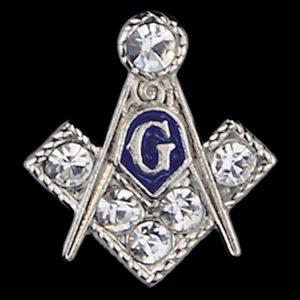 """Mason 3/8"""" Stone Lapel Pin In Silver"""