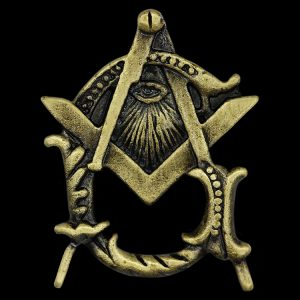 Mason Pin W/All Seeing Eye In Antique Gold 1 X 5/8″