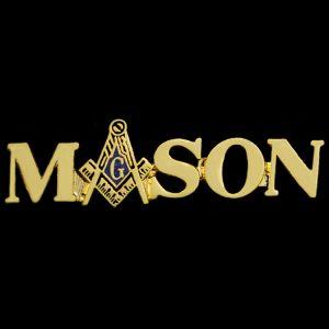 "Mason Lapel Pin W/Logo ""A"" In Gold"