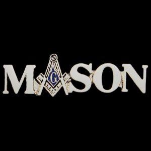 "Mason Lapel Pin W/Logo ""A"" In Silver"