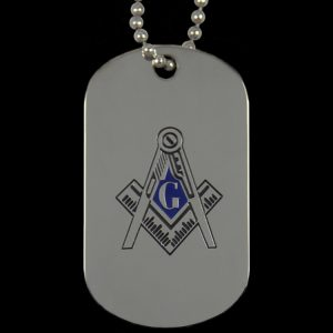 Mason Silver Double-Sided Dogtag W/Chain