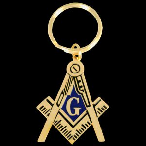 Mason Compass and Square Metal Key Chain – 2″