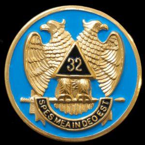 Mason 32nd Degree Wings Down Car Tag