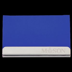 Mason Laser Engraved Business Card Holder – Stainless Steel With Blue Leather
