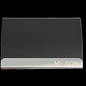 Mason Laser Engraved Business Card Holder – Stainless Steel With Black Leather