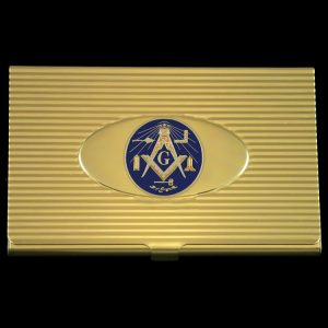 Masonic Working Tools Business Card Holder In Gold